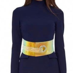 Silver Buckle Holographic Belt